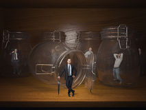 Prisoners. 3d glass jail and business people prisoners Stock Image
