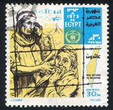 Prisoners. EGYPT - CIRCA 1973: stamp printed by Egypt, shows Map, desert, prisoners, circa 1973 Stock Images