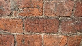 Prisoners marking time. This tally can be seen etched into the wall of the exercise yard at the Galleries of Justice museum in Nottingham.   Close by are many Royalty Free Stock Images