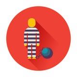 Prisonnier avec la boule sur l'icône à chaînes Photographie stock