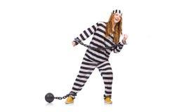 Prisonnier dans l'uniforme rayé Photo libre de droits
