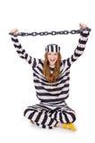 Prisonnier dans l'uniforme rayé Images libres de droits
