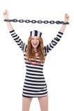 Prisonnier dans l'uniforme rayé Photographie stock libre de droits