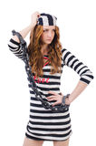 Prisonnier dans l'uniforme rayé Photos stock