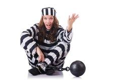 Prisonnier dans l'uniforme rayé Image libre de droits