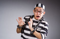 Prisonnier drôle dans les chaînes Image stock