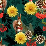 Prisquirrel, flowers, rowan and pine cone. Vector illustration Prisquirrel, flowers, rowan and pine cone Royalty Free Stock Image