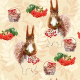 Prisquirrel, flowers, rowan and pine cone. Vector illustration Prisquirrel, flowers, rowan and pine cone Stock Image