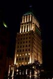 Prissätta byggnad vid natt i Quebec City, Kanada Arkivbilder
