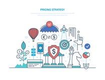 Prissättningstrategi Marknadsföringspolitik, konkurrens i marknadsekonomi, vinst, tillväxt vektor illustrationer