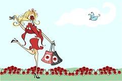 Prissy shopper. Illustration of a prissy female shopper stock illustration