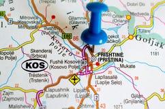 Pristina на карте стоковые изображения rf