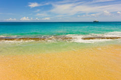 A pristine beach in the windward islands Royalty Free Stock Photo