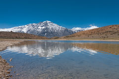 Alpine Lake Snowcapped Mountain Dhankar Himalayas Stock Images