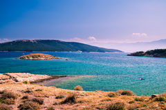 The pristine coastline and crystal clear water of the island of Royalty Free Stock Image