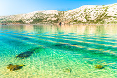 The pristine coastline and crystal clear water of the island of Royalty Free Stock Photography