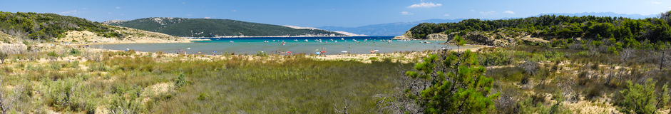 The pristine coastline and crystal clear water of Rab. Stock Photos