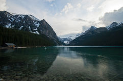 Pristine lake and snow mountain Royalty Free Stock Photo