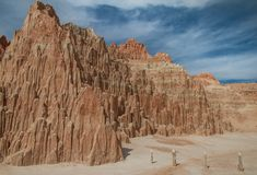 Pristine landscape view of Cathedral Gorge State Park in Nevada stock image