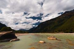 Pristine Natural Landscape River Bomi Tibet China Stock Images