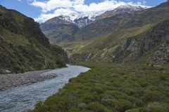 Pristine river in Valle Chacabuco, northern Patagonia, Chile. Royalty Free Stock Photos