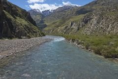 Pristine river in Valle Chacabuco, northern Patagonia, Chile. Royalty Free Stock Images