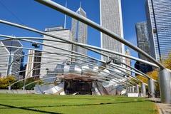 Pritzker paviljong- och stadsbyggnader, Chicago Fotografering för Bildbyråer
