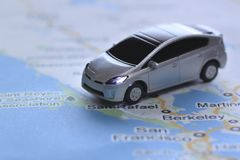 Prius no mapa Imagem de Stock