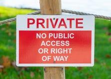 Privé - aucun panneau d'accès public ou d'avertissement de droit de passage photographie stock libre de droits