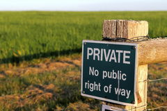 PRIVÉ aucun signe public de droit de passage Photos libres de droits