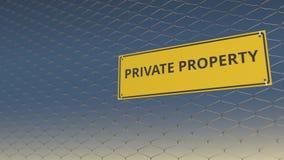 PRIVÉ-BEZITteken een omheining van de netwerkdraad tegen blauwe hemel 3D animatie stock videobeelden