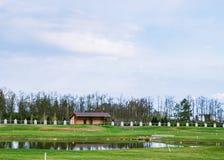 Privé golfgebied royalty-vrije stock afbeeldingen