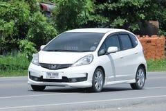 Privé Honda Jazz Car, de auto van de Vijf deurvijfdeursauto Stock Fotografie