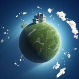 Privé huis op groene planeet royalty-vrije illustratie