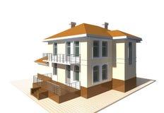 Privé plattelandshuisje, woningbouw3v illustratie op witte achtergrond Royalty-vrije Stock Foto