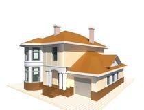 Privé plattelandshuisje, woningbouw3v illustratie op witte achtergrond Stock Foto's