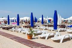 Privé strand op Mamaia stock foto