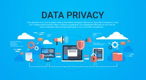 Privacidad de datos infographic isométrica de GDPR en la protección azul de la red del fondo de los datos generales del almacenam ilustración del vector