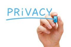 Privacidad manuscrita con el marcador azul Fotos de archivo libres de regalías