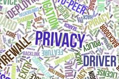Privacidad, nube conceptual de la palabra para el negocio, tecnología de la información o las TIC libre illustration
