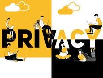 Privacidade criativa e povos do conceito da palavra que fazem coisas da tecnologia ilustração royalty free