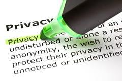 ?Privacidade? destacada no verde Imagens de Stock