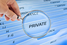 Privacidade dos arquivos confidenciais   Imagens de Stock