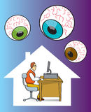 Privacy. Man being watched while on the computer vector illustration