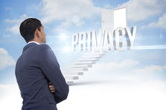 Privacy against steps leading to open door in the sky Stock Photo