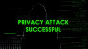 Privacy attack successful, anonymous hacker stealing personal information. Stock photo royalty free stock photos
