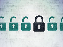 Privacy concept: black closed padlock icon on. Privacy concept: row of Painted green opened padlock icons around black closed padlock icon on Digital Paper Royalty Free Stock Photography