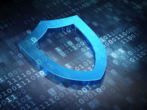 Privacy concept: Blue Contoured Shield on digital Stock Photo