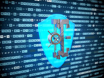 Privacy concept: blue Shield icon on digital background Stock Images