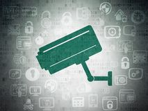 Privacy concept: Cctv Camera on Digital Data Paper background Royalty Free Stock Image